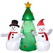Airblown Snoman Family with Tree