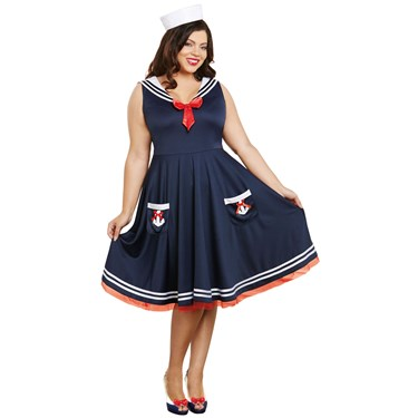 All Aboard Sailor Dress and Hat Adult Costume