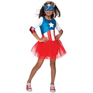 American Dream Metallic Captain America Girls Child Costume