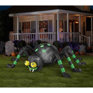 Animated Spider Black and Green Spider Airblown with Lights