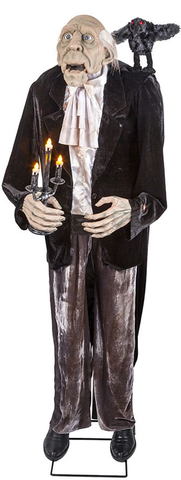 Animated Talking Butler And Crow With Light Up Candelabra