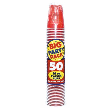 Apple Red Big Party Pack - 16 oz. Plastic Cups (50 count)