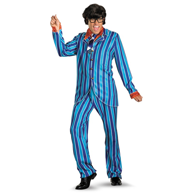 Austin Powers Adult Carnaby Street Blue Suit Deluxe Adult Costume- Blue:   (42-46)