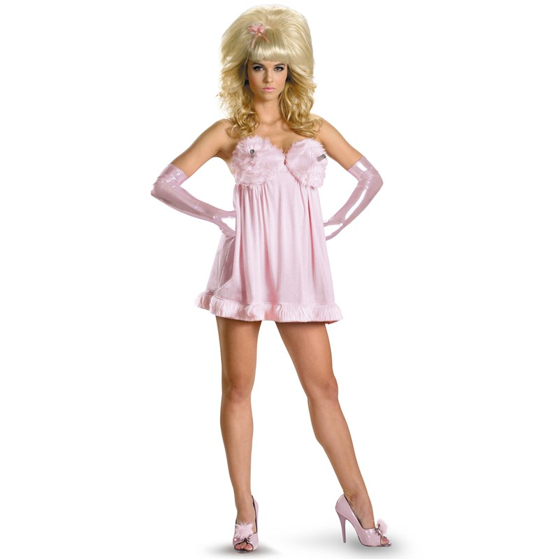 Austin Powers Adult Sexy Fembot Deluxe Adult Costume- Pink: Large (12-14)
