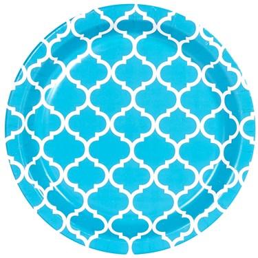Bermuda Blue Quatrefoil Dessert Plates (8)
