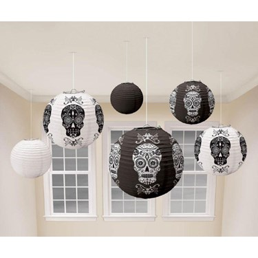 Black & Bone Paper Lanterns - White & Black