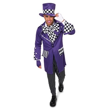 Black and Purple Gothic Mad Hatter Adult Costume