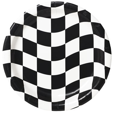 Black and White Check Dinner Plates ( 8 count)