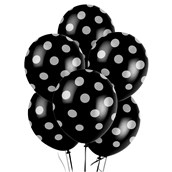 Black and White Dots Latex Balloons (6)