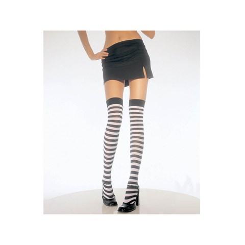 Black & White Stripe Thigh High Tights