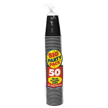 Black Big Party Pack - 16 oz. Plastic Cups (50 count)