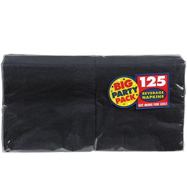 Black Big Party Pack - Beverage Napkins (125 count)