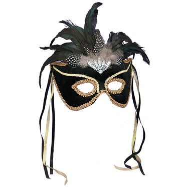 Black Feather Masquerade Mask