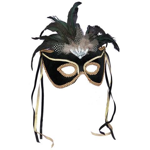 Black Feather Masquerade Mask