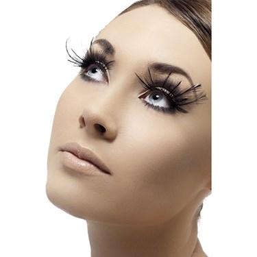 Black Feather Plume Eyelashes w/ Glue