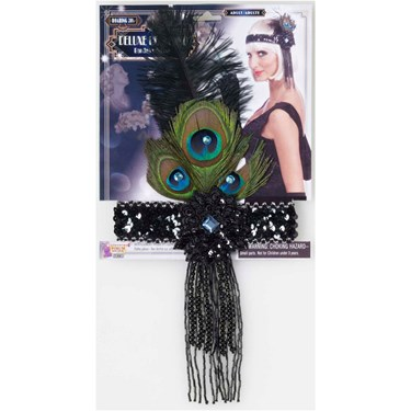 Black Flapper Headband With Peacock Feathers