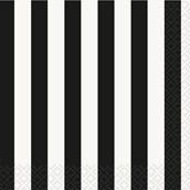 Black Stripe Beverage Napkins