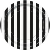 Black Stripe Dessert Plates