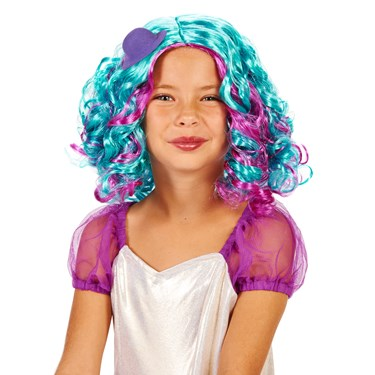 Blue and Purple Pastel Child Wig with Mini Hat