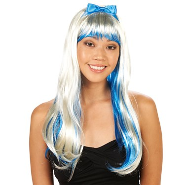 Blue and White Adult Wig