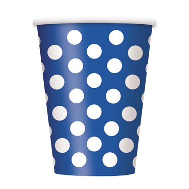Blue and White Dots 12 oz. Cups (6)