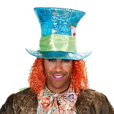 Blue Mad Hatter Adult Hat with Attached Wig One Size