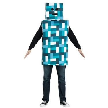 Blue Pixel Robot Costume For Adults