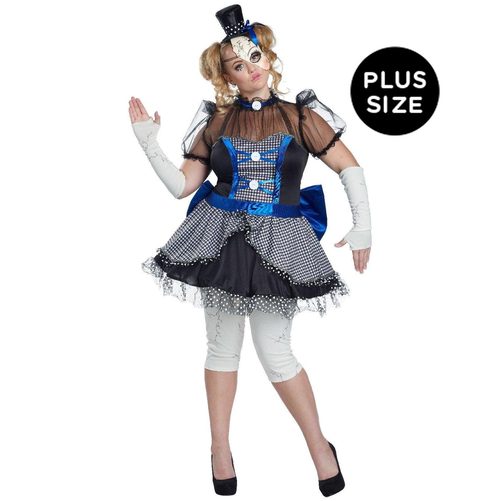 Blue Plus Size Broken Doll Costume For Women