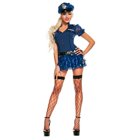 Blue Sequin Cop Adult Costume