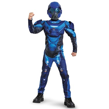 Blue Spartan Classic Muscle Child Costume