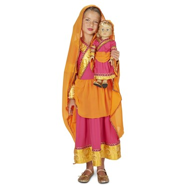 "Bollywood Girl Child Costume M (8-10) with Matching 18"" Doll Costume"