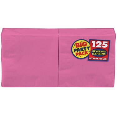 Bright Pink Big Party Pack - Beverage Napkins (125 count)