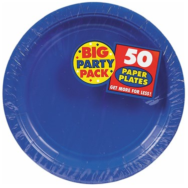 Bright Royal Blue Big Party Pack - Dinner Plates (50 count)