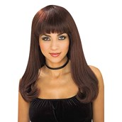 Brown Adult Wig with Bangs