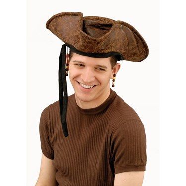 Brown Distressed Pirate Hat W/beads Adult