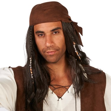 Brown Pirate with Beads Adult Wig