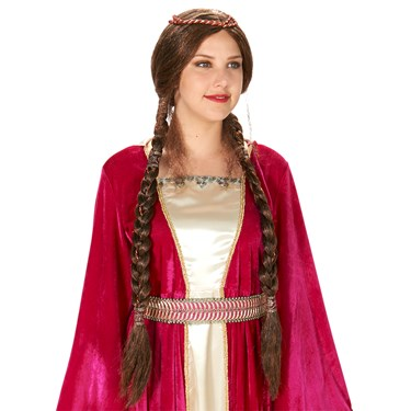 Brown Renaissance Braid Adult Wig
