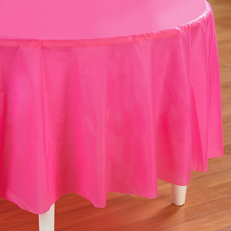 Candy Pink  Round Plastic Tablecover