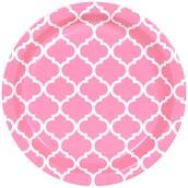 Candy Pink Quatrefoil Dessert Plates (8)