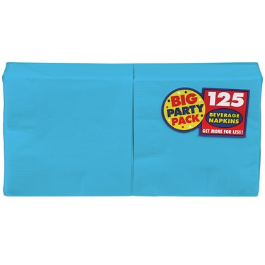 Caribbean Blue Big Party Pack - Beverage Napkins (125 count)