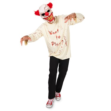 Carn-Evil Playful Clown with Mask Adult Costume