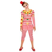 Carn-Evil Vintage Dot and Striped Clown Tween Costume