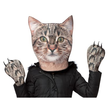 Cat Head & Paws Costume For Adults