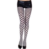Checker Tights Black & White - Adult
