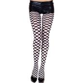 Checker Tights Black & White - Adult