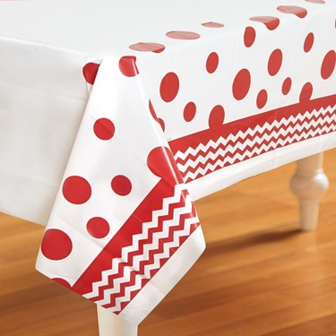 Chevron/Dots Red Plastic Tablecover