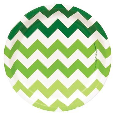 Chevron Green Dessert Plates (8 count)