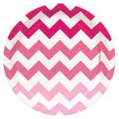 Chevron Pink Dessert Plates (8 count)