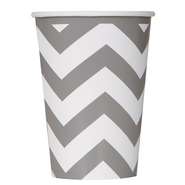 Chevron Silver 12 oz. Paper Cups (6 count)