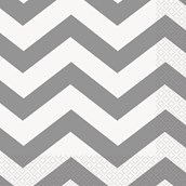 Chevron Silver Lunch Napkins (16 count)